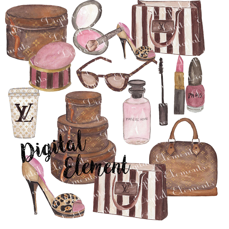 digital clip art  watercolor louis vuitton clip art Vintage Luggage Clip Art Airplane Clip Art