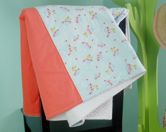 Coral and blue kids blanket