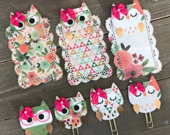 FLORAL BLISS Owl TN Planner Page Marker or Planner Clip