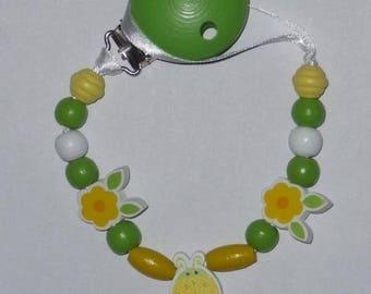 Pacifier clip-YELLOW LADYBIRD wooden lollipop