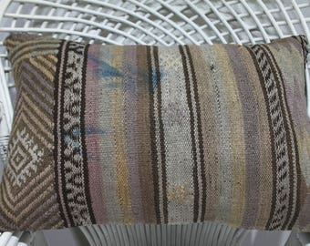 16x24 striped kilim pillow cushion cover kelim bedding rustic bench pillow meubles marocains turkishkilimpillow 16x24 outdoor pillow 932