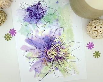 Passion Flowers Print, Purple Flower Print, Watercolour Painting, Botanical Print, Feminine, Faith, A3 Print, Wall Art, Floral Print