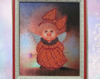 Gift-for-kids-Anniversary-Gift-for-girlfriend-Mom-Children's- room-Beadwork-Bead art-Embroidery handmade-Art-Original painting-Easter gift