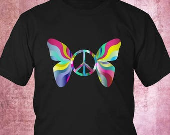 peace sign, hippie t shirt, hippie clothing, hippie clothes, tie dye, peace sign t shirt, womens top, womens t shirt, womens tee