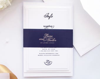 Laura NAVY and Champagne Wedding Invitation Sets, Modern Wedding Invitation, Wedding Stationery, Calligraphy Invitations Wedding Invitations