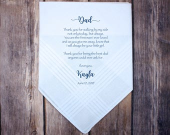 Father of the Bride handkerchief from the Bride, wedding handkerchief from daughter, custom print,Father of bride gift from bride, dad gift