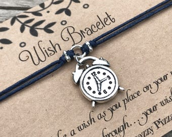 Clock Wish Bracelet, Make a Wish Bracelet, Clock Bracelet, Wish Bracelet, Friendship Bracelet, Clock Jewelry, Gift for Her, Clock Gift