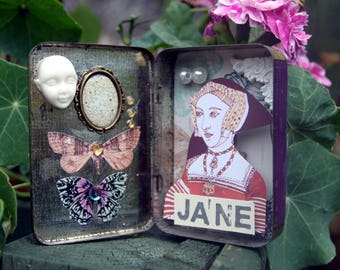 Jane Seymour shadow box - Recycled - Henry VIII, Flowers, Tudor, Butterflies, Interiors,Illustration