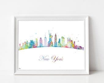 Skyline cityscape Art print, art print, cityscape, skyline United States, wedding gift, anniversary, New York, NY watercolor