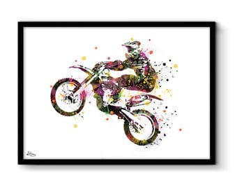 Motocross poster, art print, silhouette biker, birthday, black and multicolored gift idea