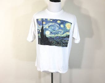 vintage vincent william van gogh the starry night all cotton t-shirt size L