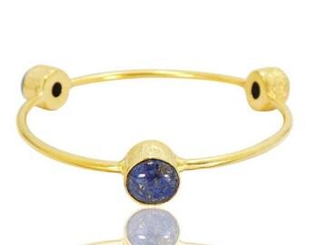 20% Off CIJ Sale Lapis Lazuli Bangle - Gold Vermeil Bangle - Gemstone Bangle - Bezel Set Bangle - Brass Bangle - Stackable Bangle - Womens B