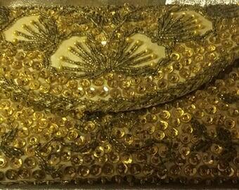 1950's Handmade Beaded and Sequin Gold Silk Clutch Evening Bag Made in Hong Kong