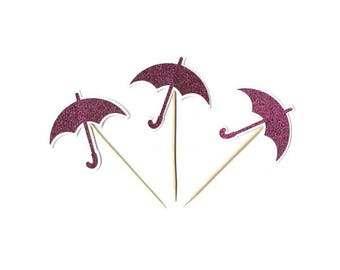 Pink Glitter Umbrella Cupcake Toppers, Baby Shower-Party Cake Picks, Set of 12, TwoSistersGreetings