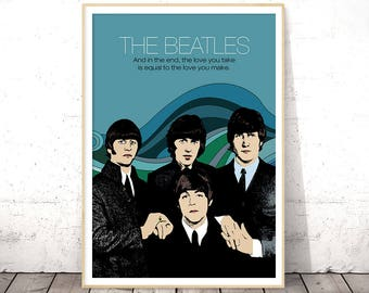 The Beatles, The Beatles Poster, Music Poster, Beatles Prints, Music Quotes, Band Posters, Music Wall Art, Pop Art Poster, Custom Quote