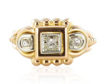 Vintage tank Tank Vintage 18K Yellow Gold Diamond ring