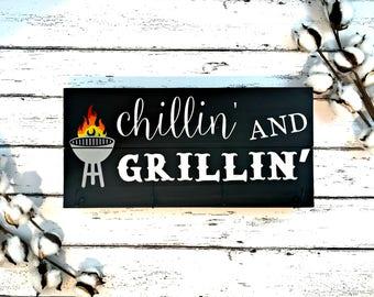 chillin and grillin bbq sign wood primitive father 39 s. Black Bedroom Furniture Sets. Home Design Ideas