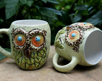 Birthday gift for sister Ceramic coffee mug Owl Wife gift Cappuccino cup set of 2 Forest friends Funny coffee mug for her Whimsical pottery