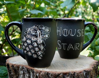 Gift for father House Stark mug Game of thrones mug boyfriend gift for fan Pottery coffee mugs Mens gift for husband Ceramic mug Wolf gifts