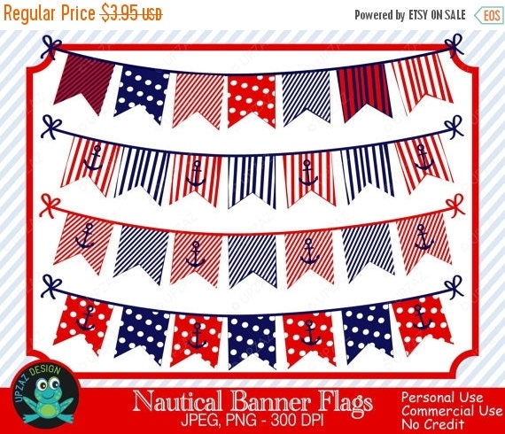 75 off sale nautical bunting banner clipart banner flags red white blue banner flags clipart. Black Bedroom Furniture Sets. Home Design Ideas