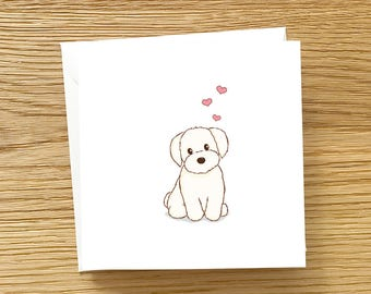 Dog Greeting Card - White Havanese with Love, Havanese card, Cute Card for Havanese lover, Dog card, Havanese Love You Card