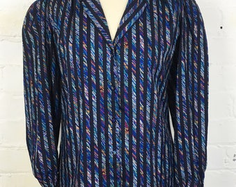 Vintage Designer DVF 'Diane Von Furstenberg' 1980's Blue Printed Striped Coloured Blouse. Polyester Blouse. Size 8-12