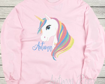 Girls Unicorn Personalized Shirt Monogrammed Customized