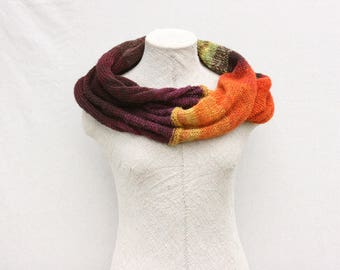 Bright Autumn knit infinity scarf machine knit by Inese in Latvia fluffy soft warm scarf mohair knit wrap winter gift Fall Flower