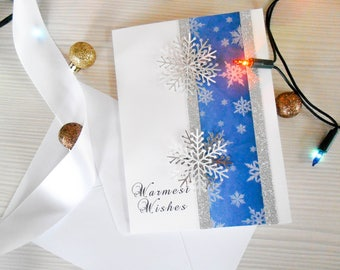 Warmest Wishes Winter Card, Christmas Greetings Card, Handmade Card, Holiday Card