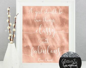 Abstract Rose Gold Glitter Quote - gift idea , home decorFashion Print, gift idea