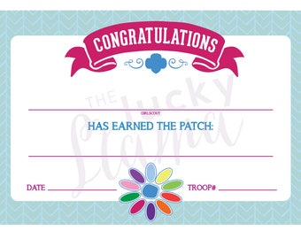 Daisy Girl Scouts Petal Fill-In Certificates - Printable Instant Download