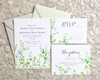 Greenery Wedding Invites - Botanical Watercolor - Garden Invitation Set - Wedding Stationery Package - Green Branches Invite
