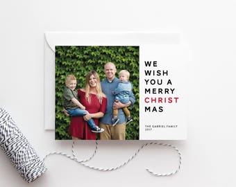Religious Holiday Card with Photo - Family Photo Cards - Red Letter - Personalized Photo Cards - Christmas Card Sets - Printed Cards - Merry
