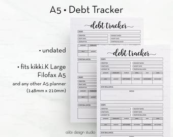Debt Tracker, A5 Planner Inserts, Finance Planner, Debt Planner, Budget Planner, A5 Inserts, Finance Organizer, Debt Printable, A5 Filofax