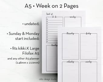Weekly Planner, Week on 2 Pages, Weekly Inserts, A5 Planner, Printable Planner, Daily Planner, A5 Filofax, Meal Planner, Planner Inserts