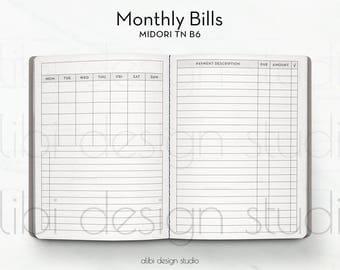 B6 TN, Bill Tracker, Travelers Notebook, Monthly Insert, Midori Inserts, Finance Insert, Monthly Bill Tracker, TN Inserts, Budget Insert