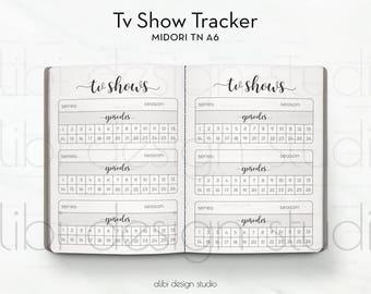 A6 TN, Tv Show Tracker, Travelers Notebook, Tv Tracker, Midori Inserts, TN Inserts, Midori, Tv Organizer, Midori A6, Tv Show Insert