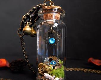 Steampunk terrarium bottle necklace gear necklace steampunk wedding gift moss pendant neo victorian moss terrarium steampunk girl dieselpunk