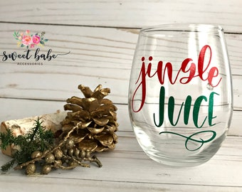 Jingle Juice Stemless Wine Glass,Jingle Juice Wine Glass,Jingle Juice,Wine Lover Gift,Stemless Wine Glass,Wine Glass Gift Idea,Wine Lover