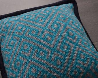 Geometric Pattern Knitted Cushion
