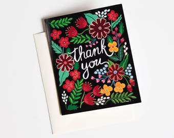 Floral Thank You card, thank you greeting card, thank You card set, thank you notecard, floral card, greeting cards