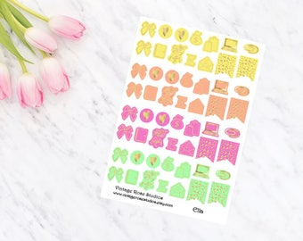 Ella Foiled Icons Planner Stickers with Gold, Rose Gold or Silver for All Planner Types Erin Condren, Kate Spade, FiloFax, Inkwell