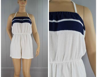 Vintage Womens 1980s White and Navy Blue Stripe Terry Cloth Halter Cover Up Romper | Size L (or M/L)