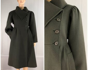 Vintage Womens 1980s Oscar De La Renta Dark Army Green Wool Princess Coat with Puffy Sleeves and Asymmetrical Collar | Size M/L