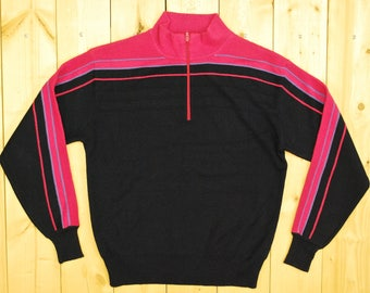 Vintage 1970's MEISTER Hot Pink and Navy Zip Ski Sweater  /Retro Collectable Rare