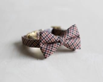Boy Dog Collar, Plaid Dog Collar, Fancy Dog Collar, Plaid Cat Collar, Plaid Dog Bow Tie, Plaid Cat Bow, Rose Gold Collar, Wedding Dog Collar