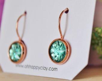 READY TO SHIP / Mint Crystal Earrings / Rose Gold Earrings / Hypoallergenic Earrings / Nickel Free Earrings / Lead Free Earrings