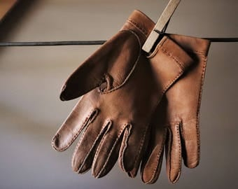 Leather gloves VINTAGE women Leather Mitts authentic Casual chic