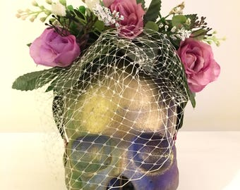 Galmorous Lilac floral mesh headband with mesh