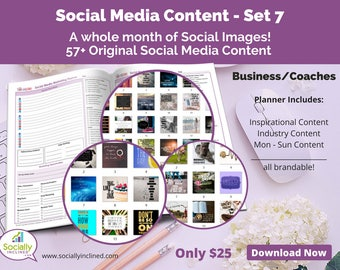 Social Media Images - Content General Business & Coaches (SET 7) -- 57+ original images, blank planner pages, checklists, tasks, and goals